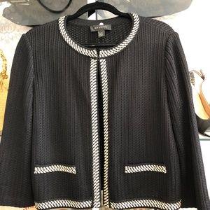 ST. JOHN Black Open Front 3/4 Sleeve Knit Jacket